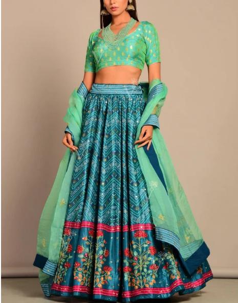 Design #2: Blue Printed Silk Lehenga Set