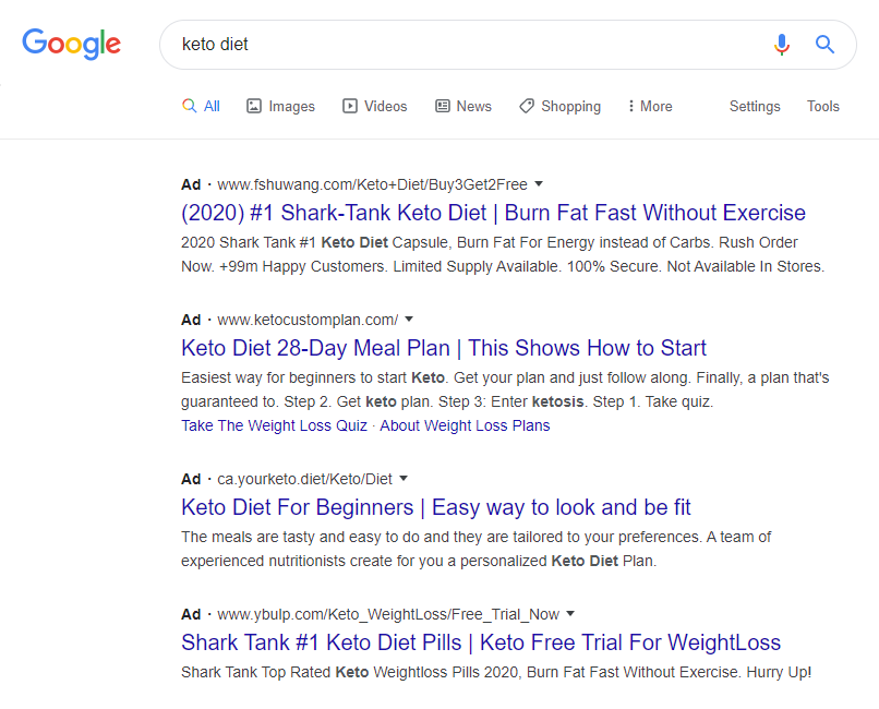 "Paid search results for ""keto diet""."