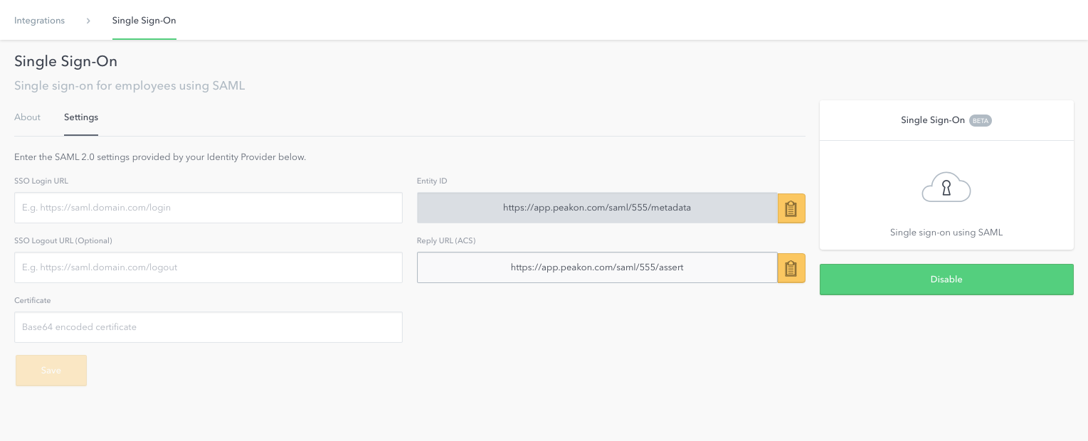 Single sign on and user provisioning peakon help centre it administrators can configure single sign on by first clicking the settings icon in the bottom left corner of the peakon dashboard choosing integrations xflitez Gallery