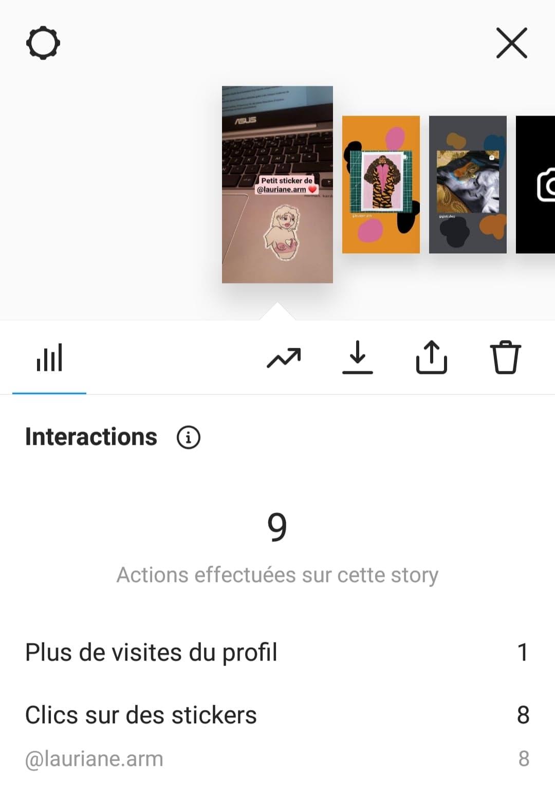 statistique Instagram avec le nombre d'interactions