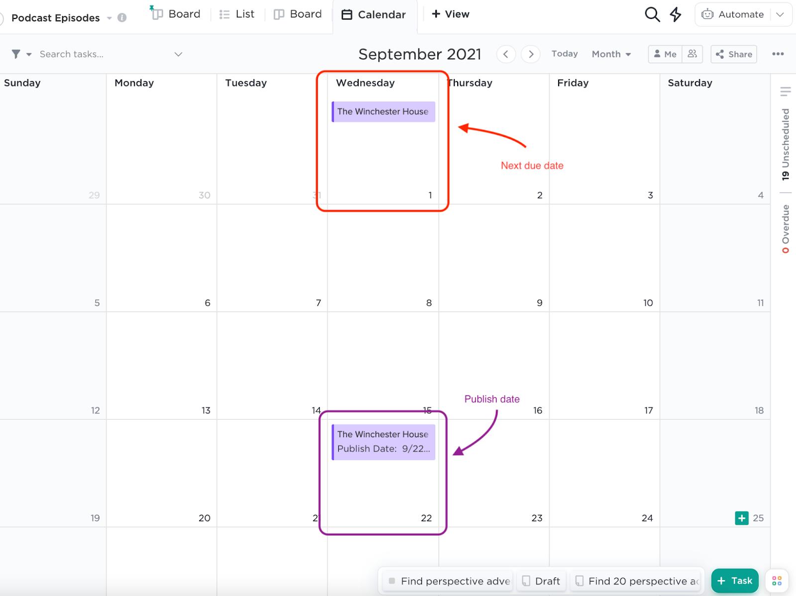 Screenshot of ClickUp's calendar view.