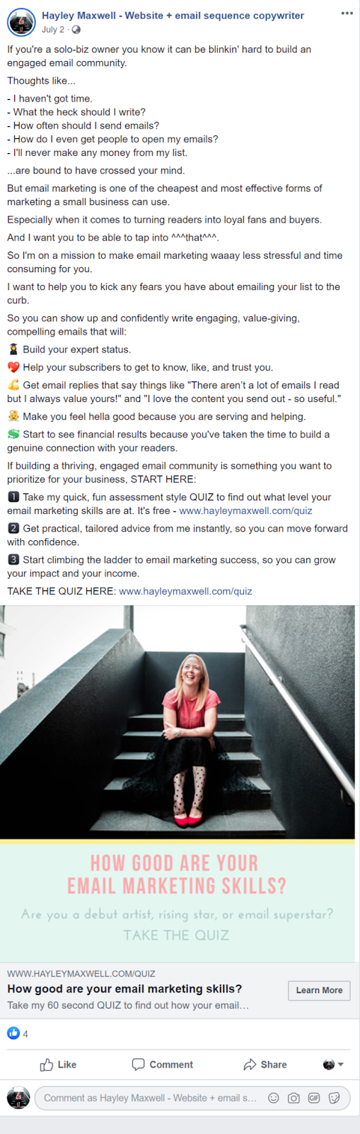 quiz marketing funnel ad example from Hayley Maxwell