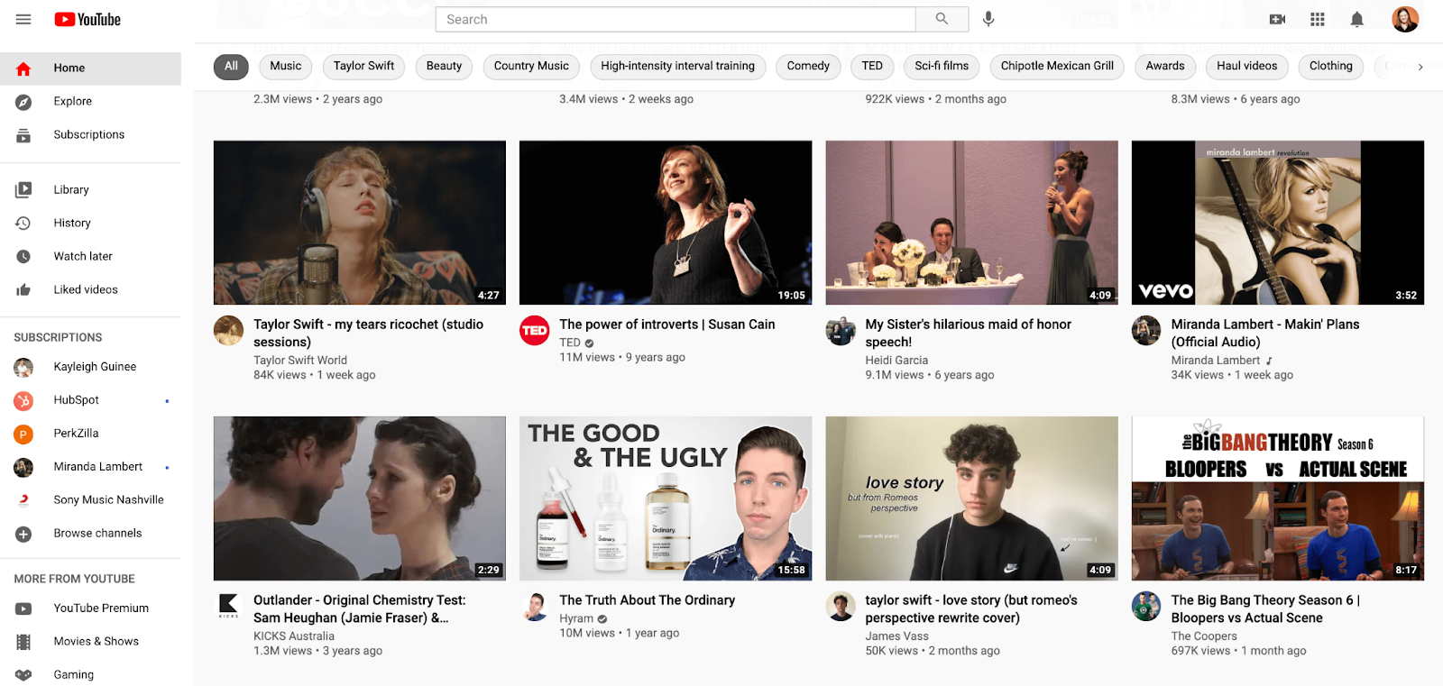 YouTube's home screen, which is one browse feature