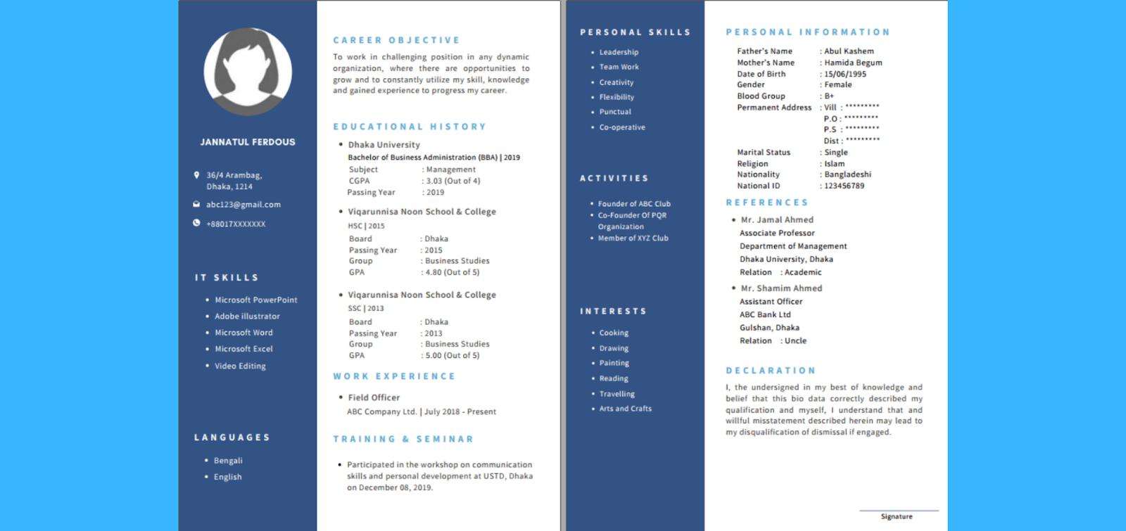 Curriculum Vitae samples
