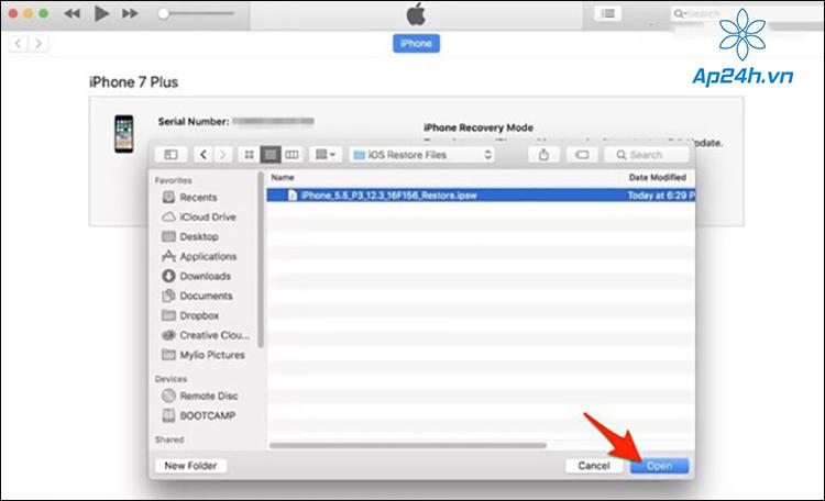 Mở tệp IPSW của iOS 14 đã tải xuống