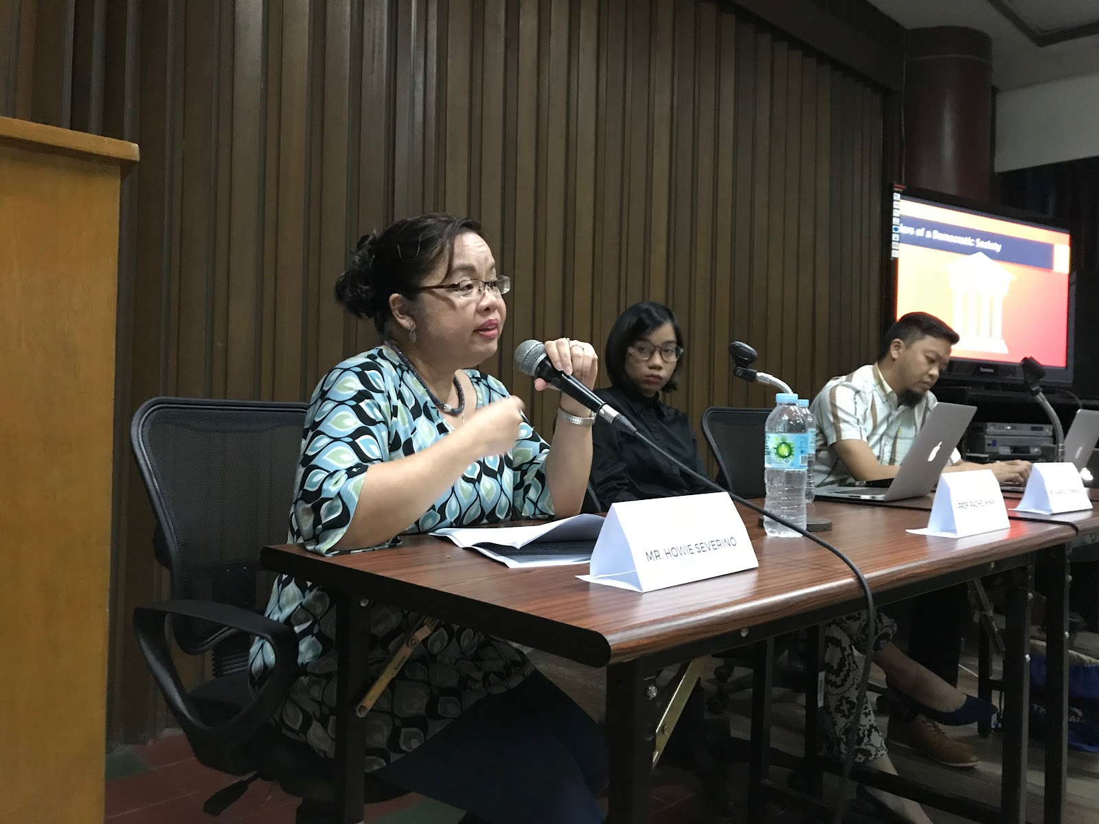 MEDIA ATTACKS. Professor Rachel Khan, chairperson of the UP Department of Journalism emphasizes the real effects of silencing the press. Photo by Gari Acolola/Rappler