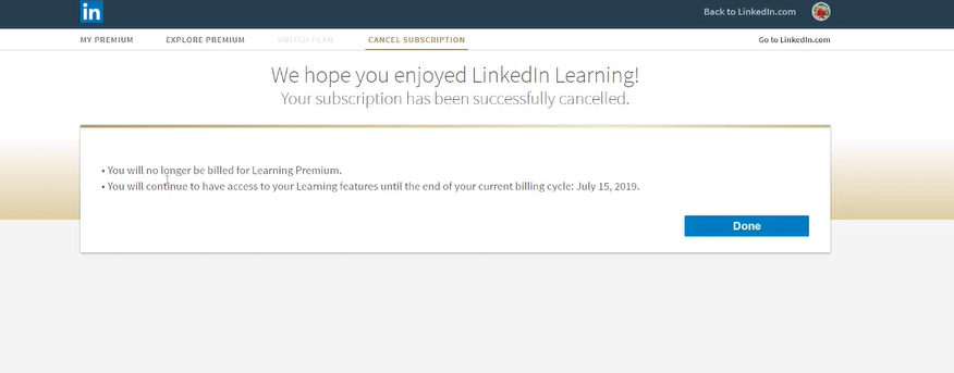 click on done to cancel premium subscription of linkedin
