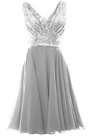MACloth Women V Neck Sequin Short Wedding Bridesmaid Dresses ...