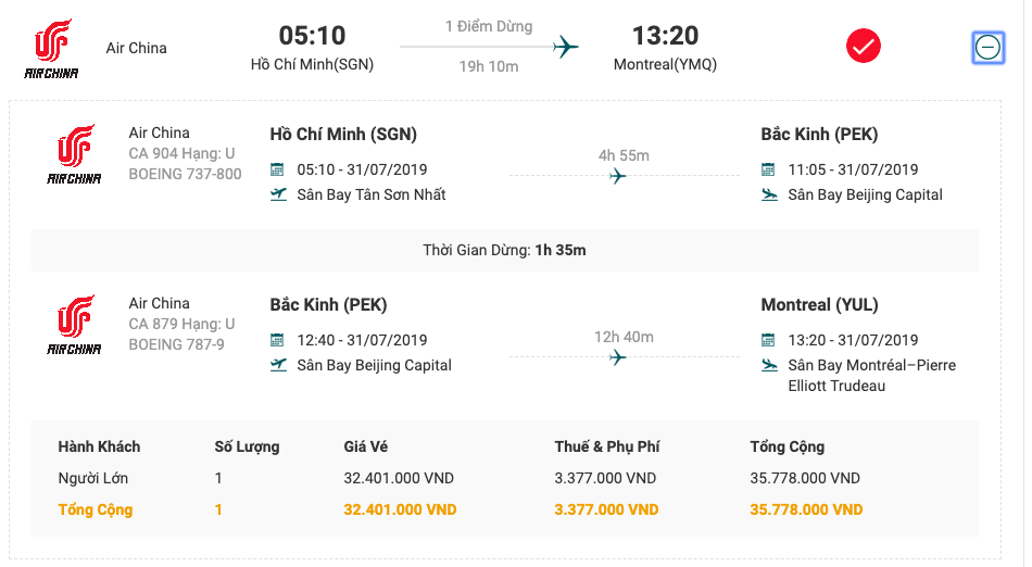 Vé máy bay từ Sài Gòn đi Moutreal của Air China