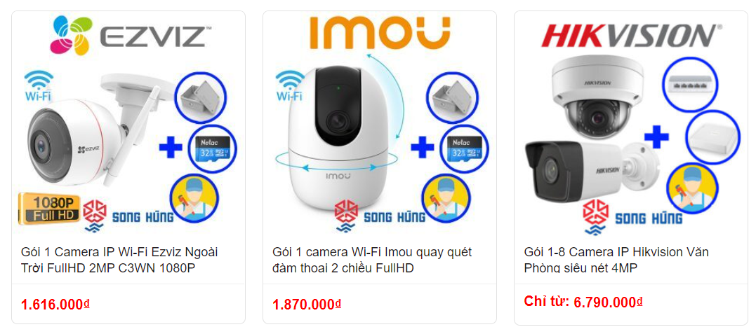 Một số dòng sản phẩm Camera IP Wifi