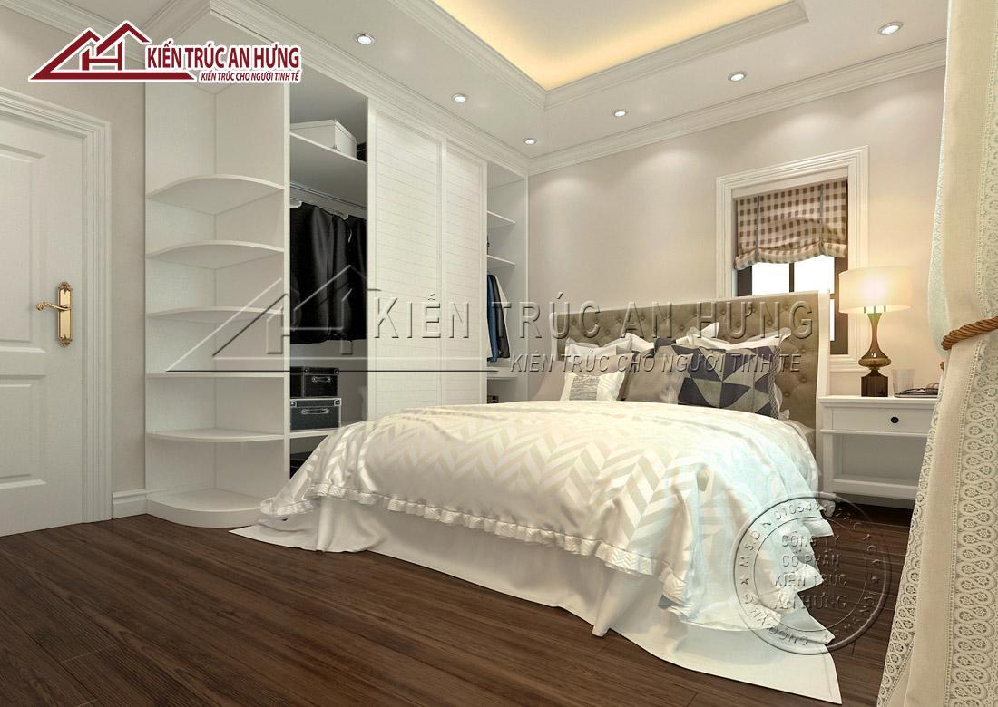 Màu trắng kết hợp với đồ nội thất thiết kế đơn giản mang lại vẻ đẹp thanh lịch, nhã nhặn cho căn phòng ngủ