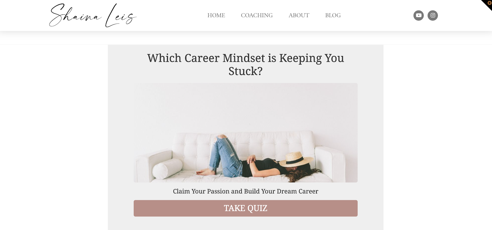 quiz landing page with career mindset quiz embedded