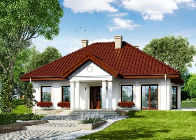 Phong cách tân cổ đơn giản cho nhà vườn 1 tầng