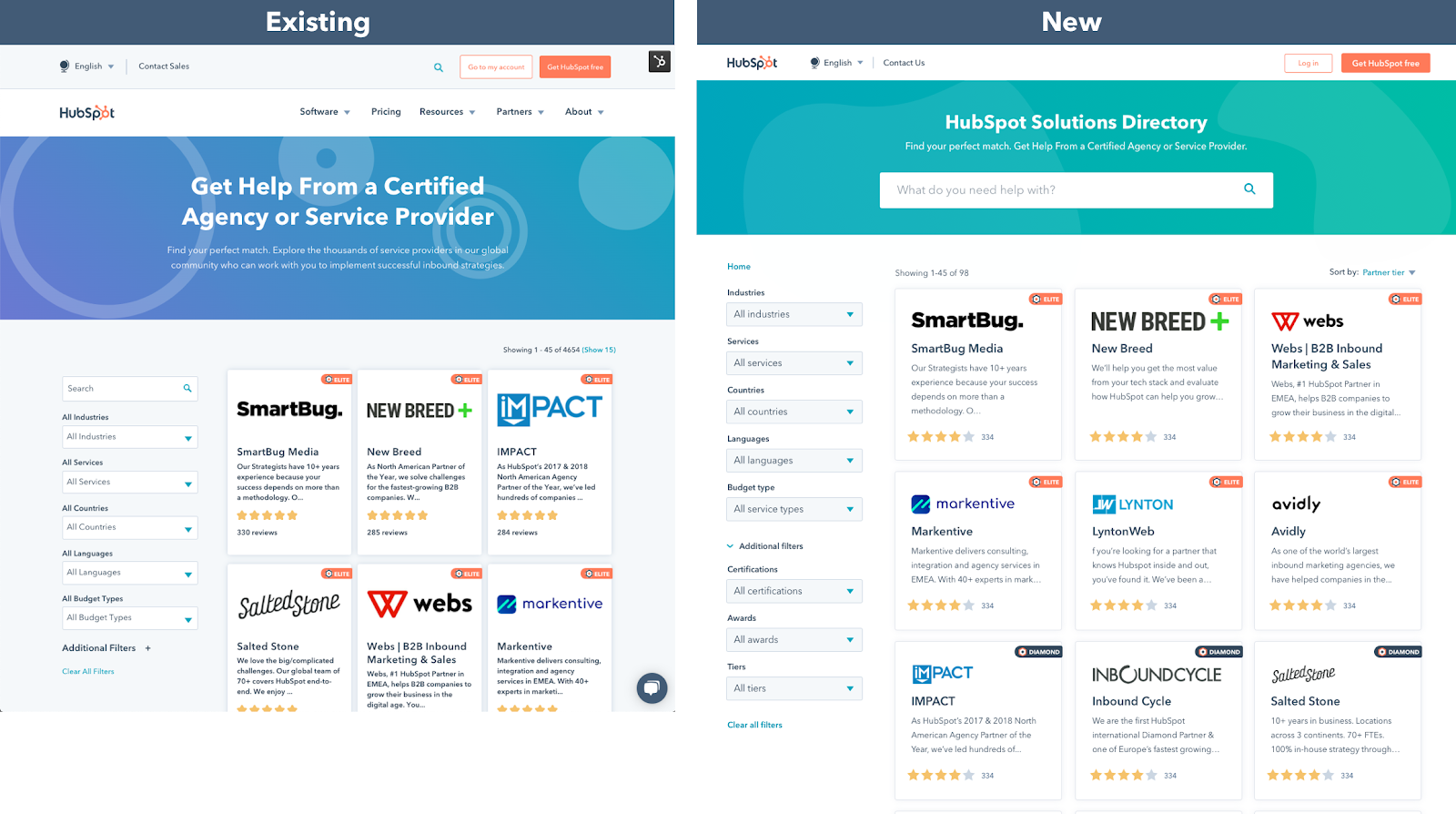 Side by side comparison of the existing Solutions Directory homepage and the new homepage