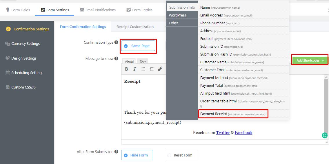 confirmation message, confirmation message customization, online receipt customization