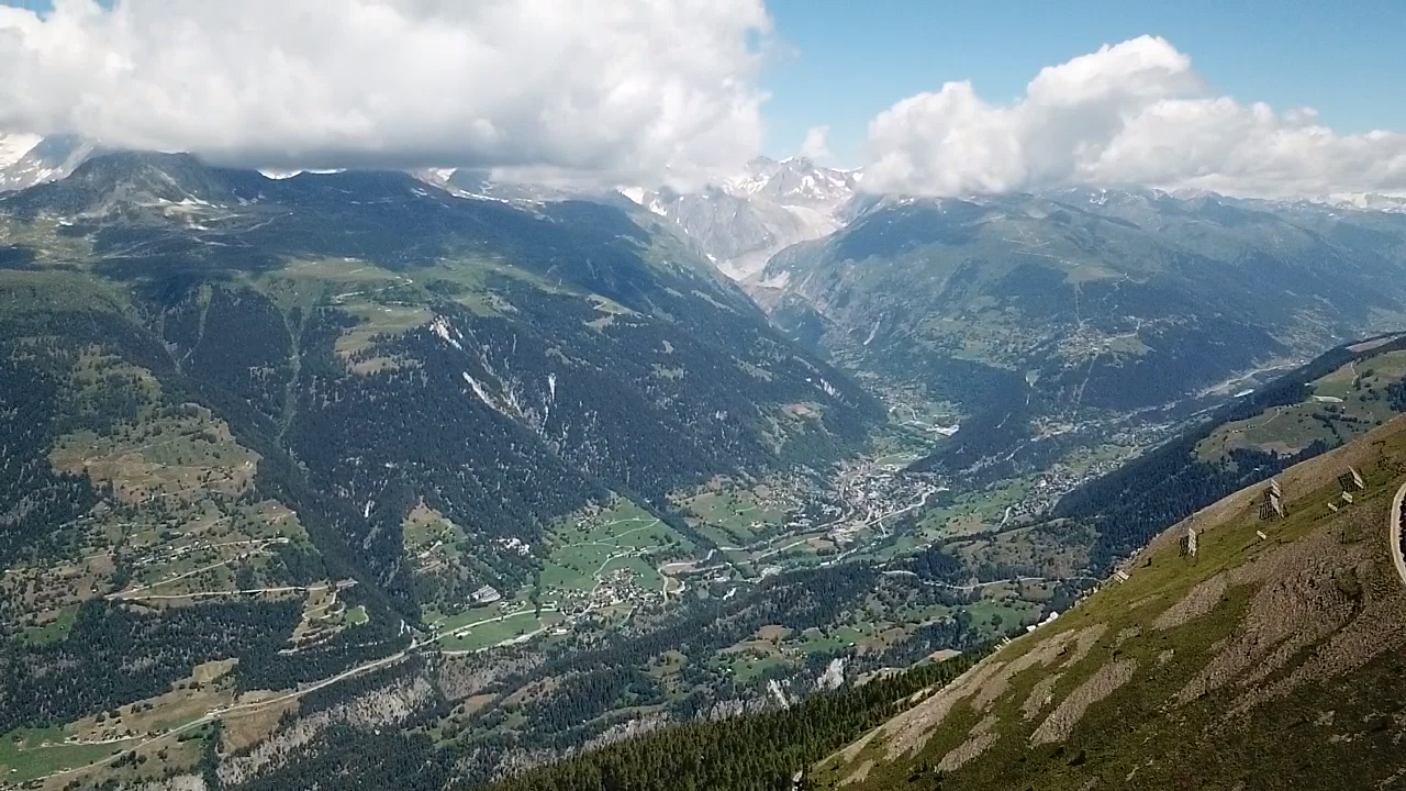 Bike climb of Breithorn - views of Rhone River and Rhone Valley