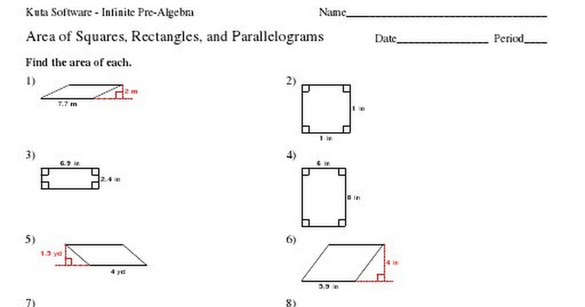 Kuta - Area of Squares, Rectangles, and Parallelograms.pdf - Google ...