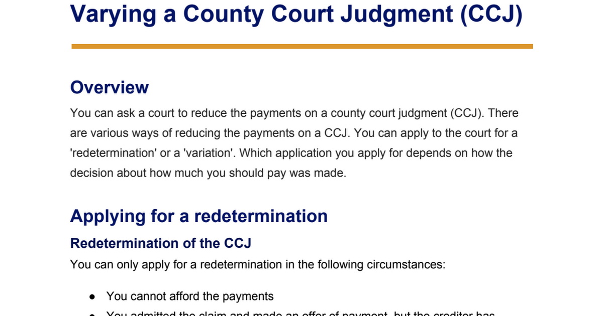 How To Pay A Ccj >> Fact Sheet Varying A County Court Judgment Ccj Pdf