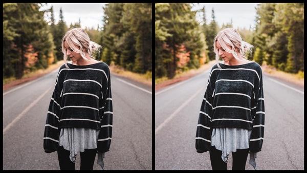 Tutorial de edição de uma mulher posando no meio da estrada usando o filtro Rosy do AirBrush