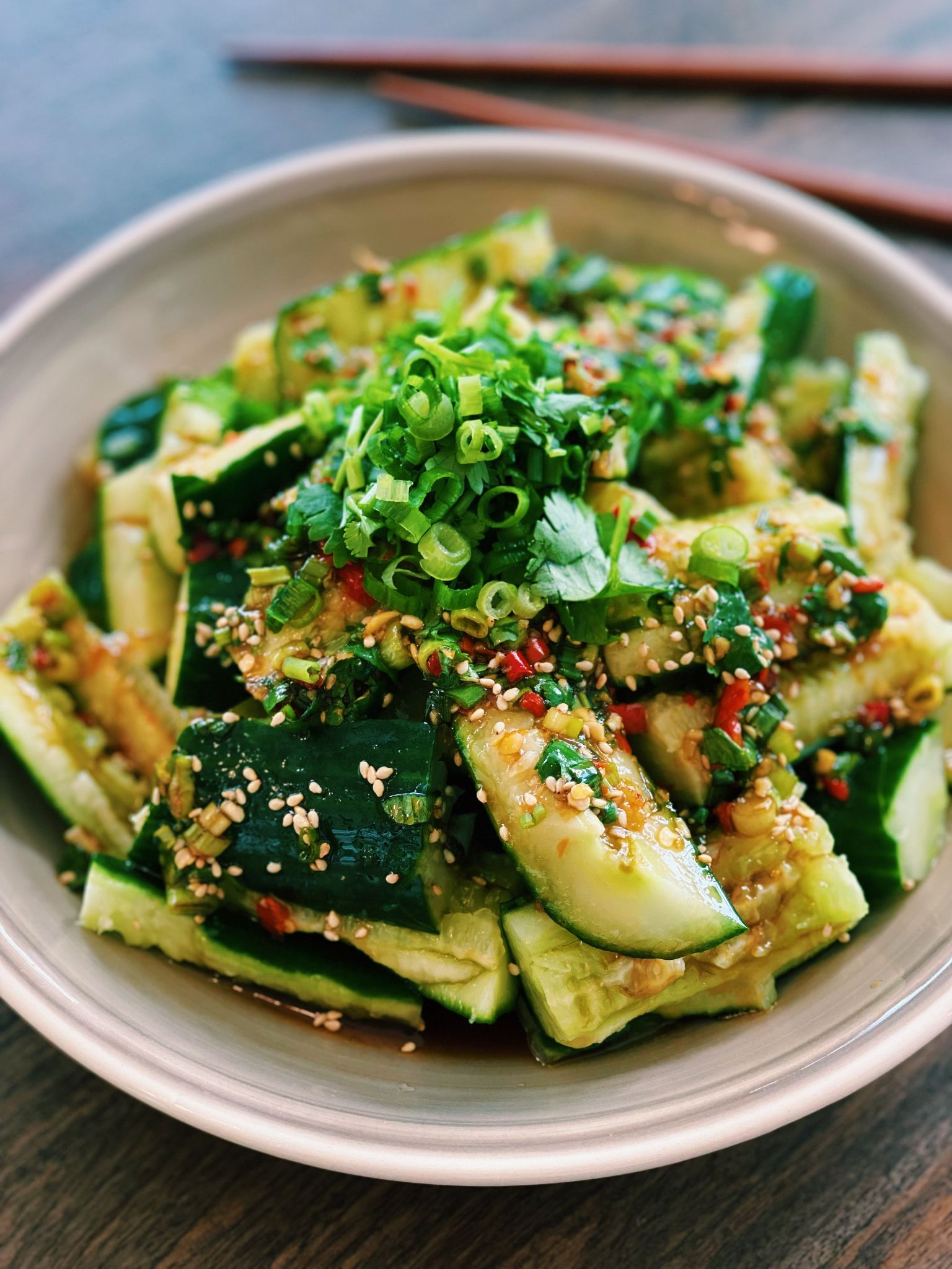 Spicy Smashed Cucumber Salad (10 Minutes)
