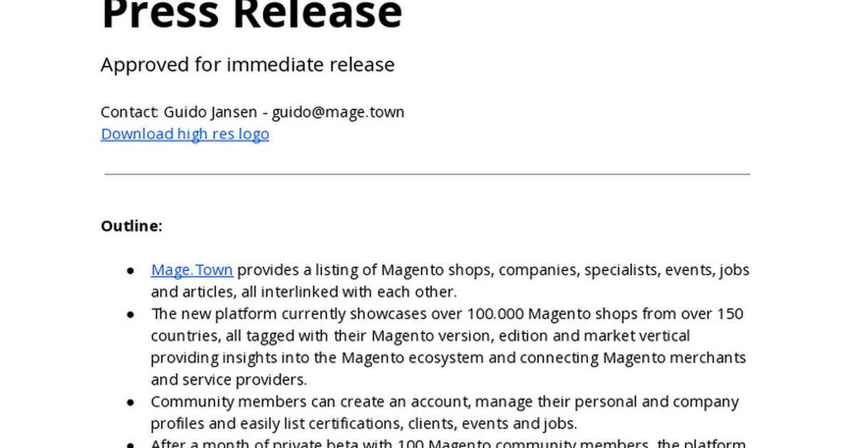 magetown: https://t.co/WUCcu9sdgA public beta press release: https://t.co/J6uYjbsRco #MagentoImagine https://t.co/TUV1xDck2h