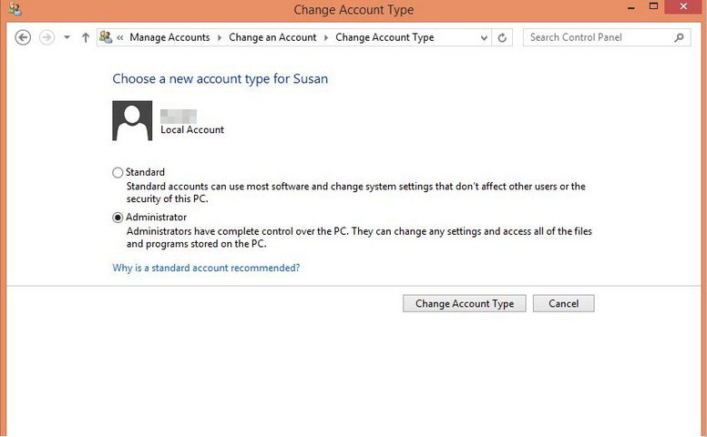change account type to administrator in windows 8