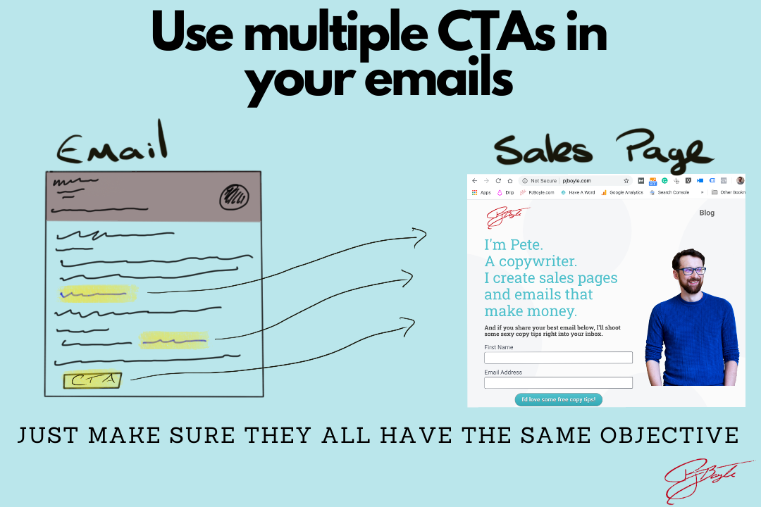 Use multiple CTAs in every email within your sequence