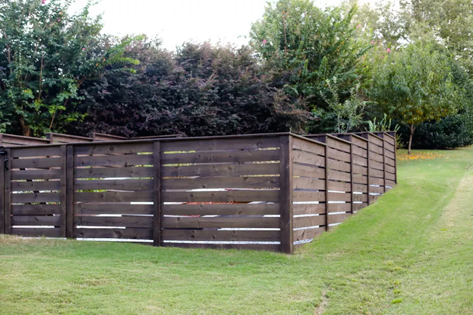 Stepped Wood Garden Fence