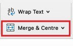 """Find the """"Merge Cells"""" icon"""