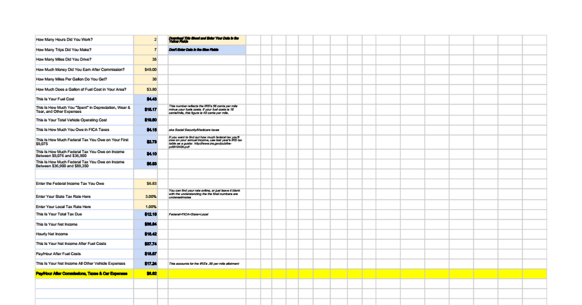 uber lyft income and tax calculator google sheets