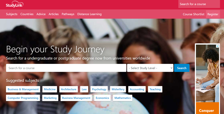 StudyLink Landing Page