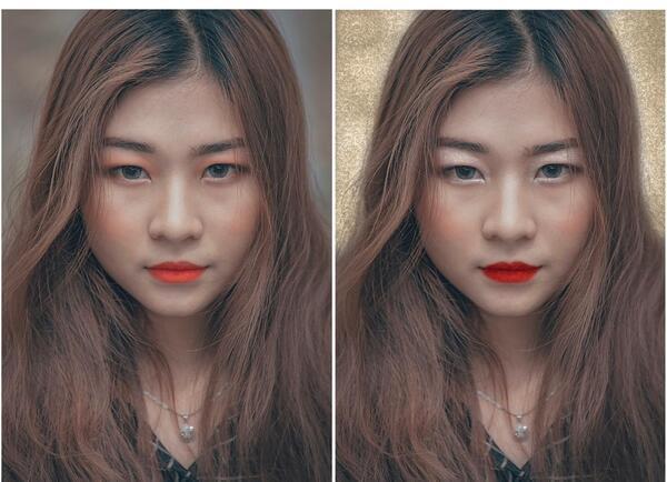 Foto de uma mulher asiática sendo editada pelo airbrush