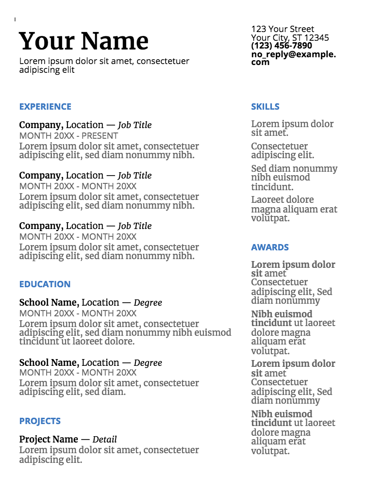 google doc resume templates page