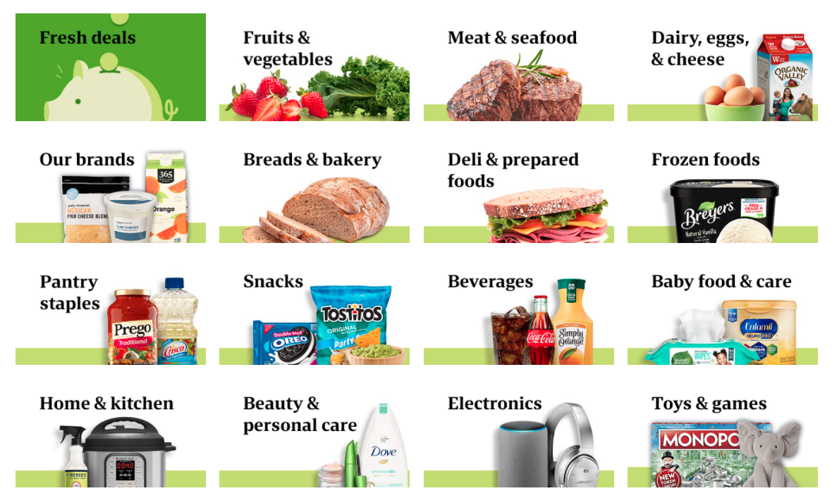 Browsable categories on Amazon Fresh