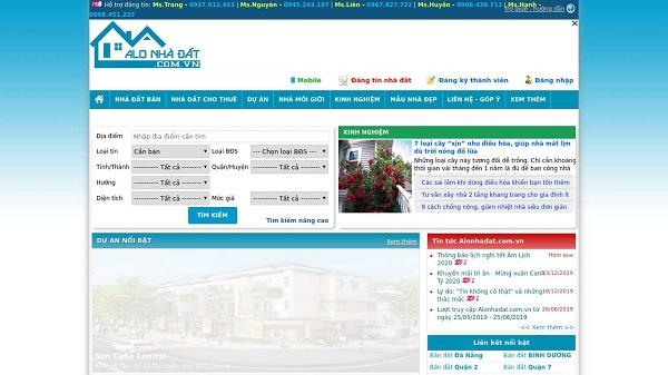 Giao diện trang Alonhadat.com.vn