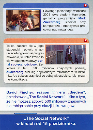 Tył ulotki filmu 'The Social Network'