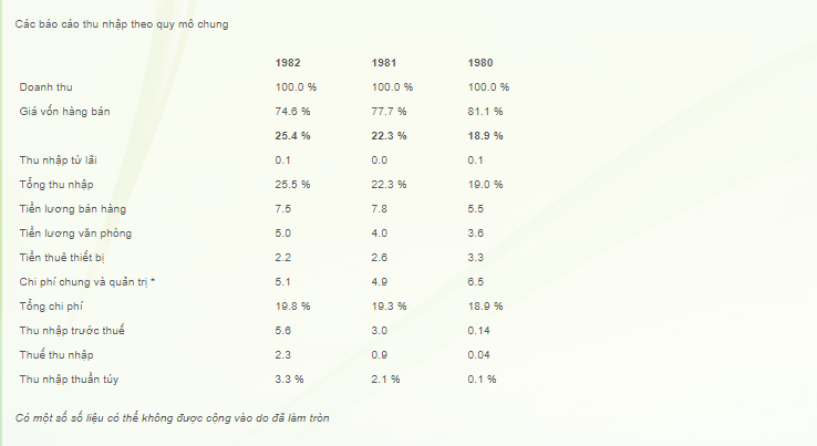 Các báo cáo thu nhập theo quy mô chung