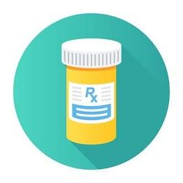 """[Descripción de la imágen: una botella de medicina con las letras """"Rx""""]"""