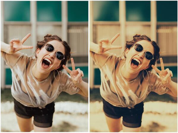 Duas fotos de uma mulher rindo, usando óculos de sol e fazendo sinal de paz com os dedos. Uma original e a outra com o efeito PDX-1
