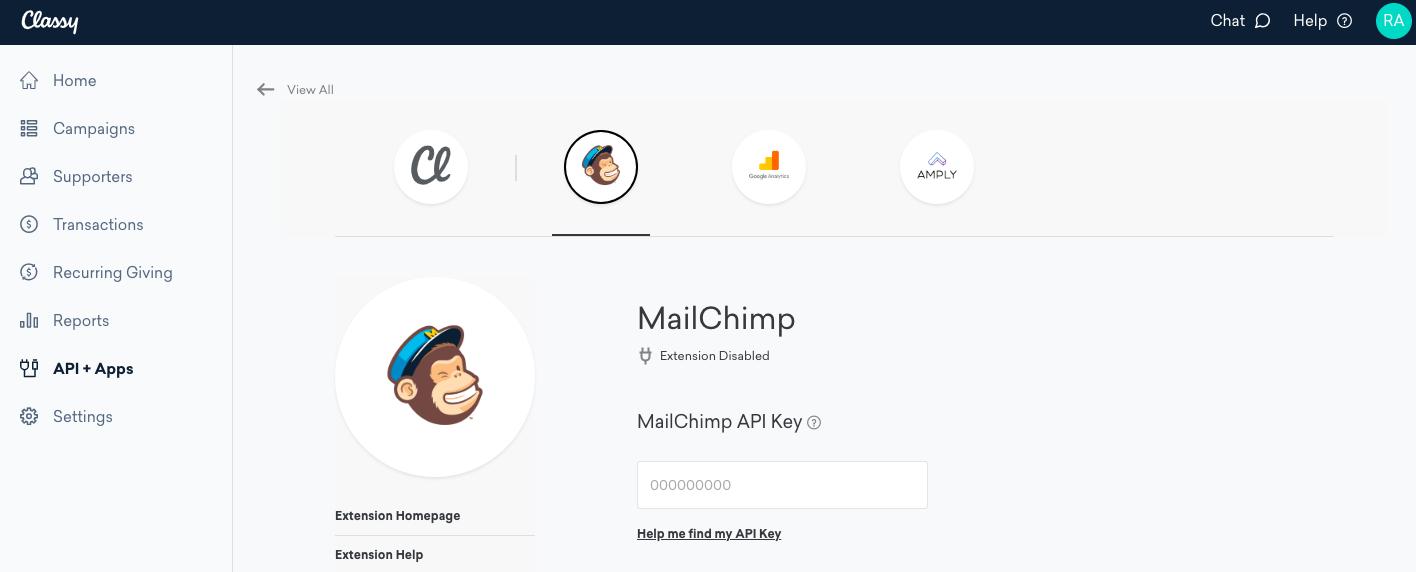 classy set up the mailchimp integration