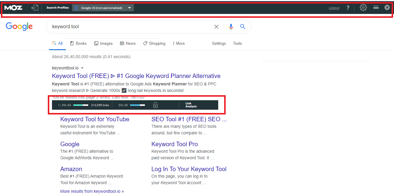 MozBar is link building free seo extensions.