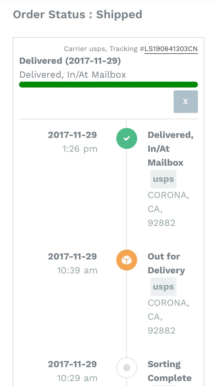 Order Lookup Tracking