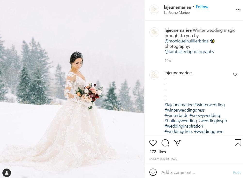 bride getting married in the winter wedding season