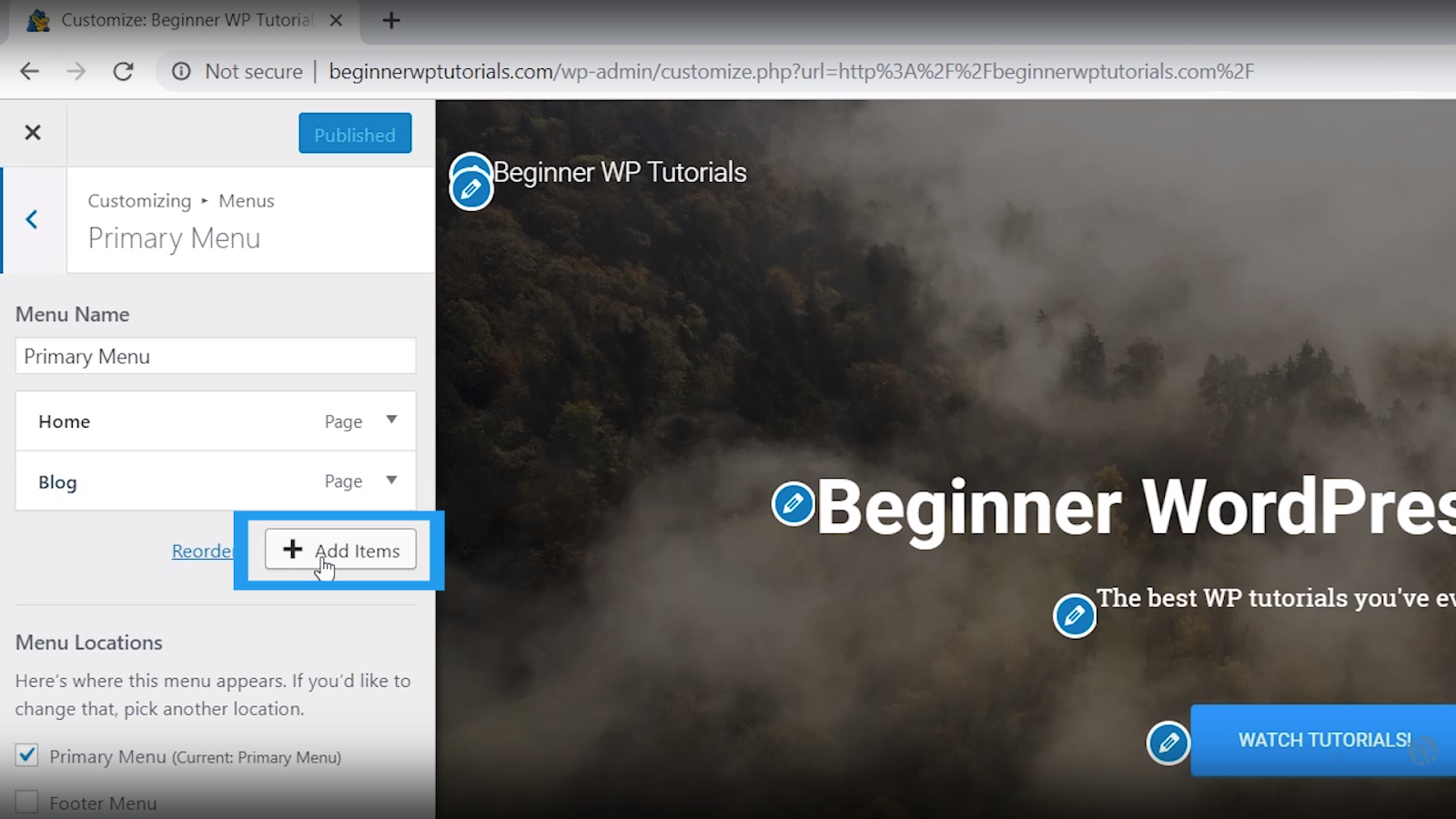 add page to menu wordpress tutorial for beginners