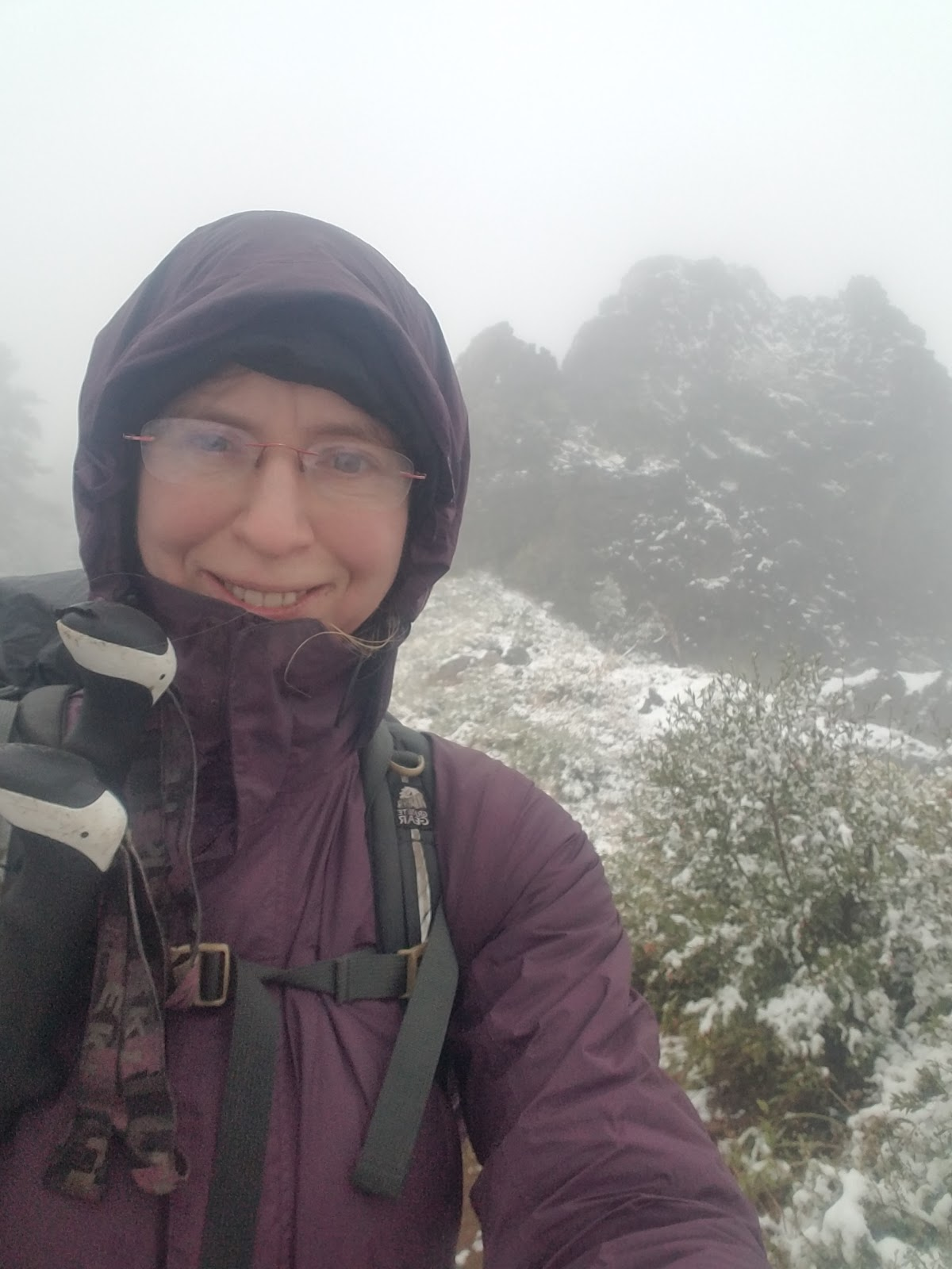 "bundled up like a muppet in the snowy Sierra. Not choosing to hike ""ultralight"" has its benefits."