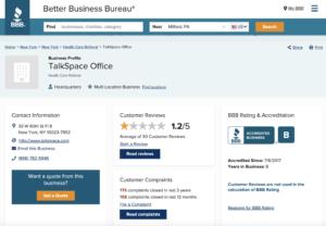 talkspace online counseling better business bureau