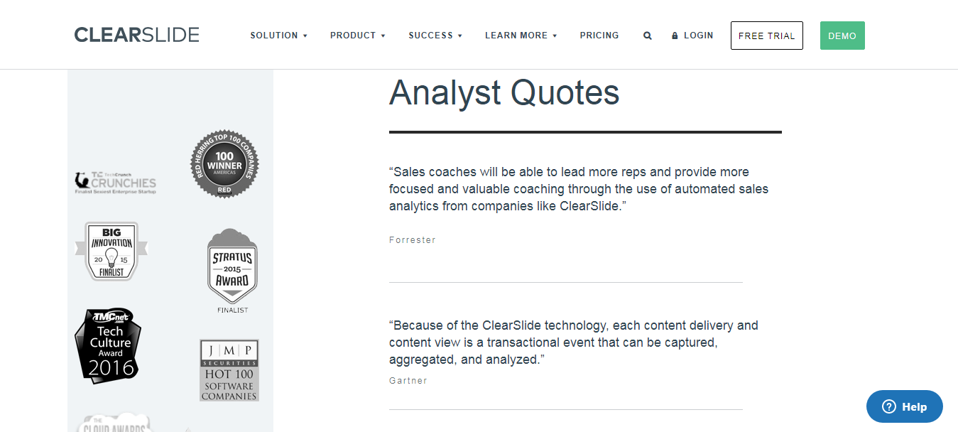 ClearSlide ensures their B2B testimonials are aligned with their overall business.