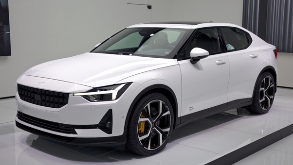 A white Polestar 2 on sale at a showroom.