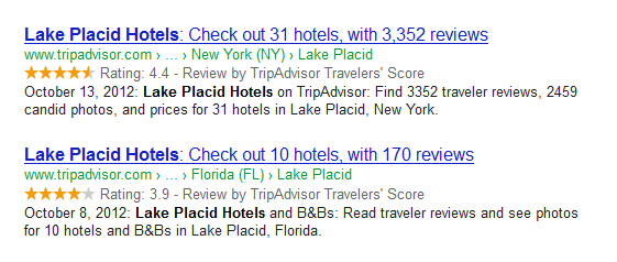 search snippet for Lake Placid Hotels