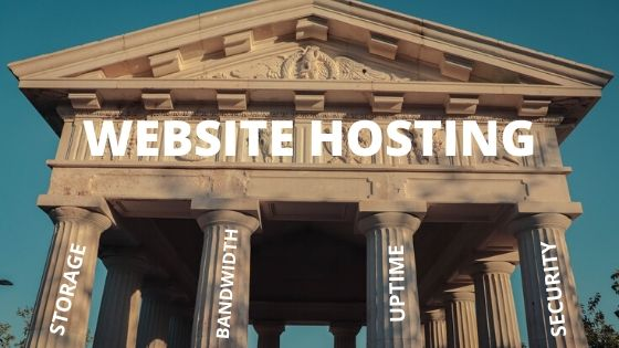 pillars of a good hosting, storage bandwidth, uptime, security, shown as pillars of a greek temple